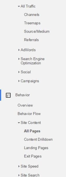 In the old Google Analytics menu, you could have multiple menu items expanded. In this case, All Traffic and Site Content are expanded.
