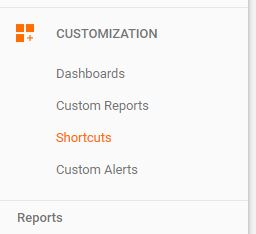 Now, shortcuts is a secondary item in the new Google Analytics' menu.