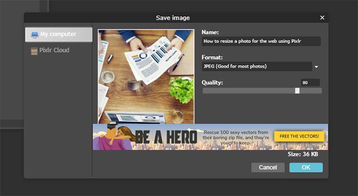 Pixlr Steps to Edit Image - Step 7