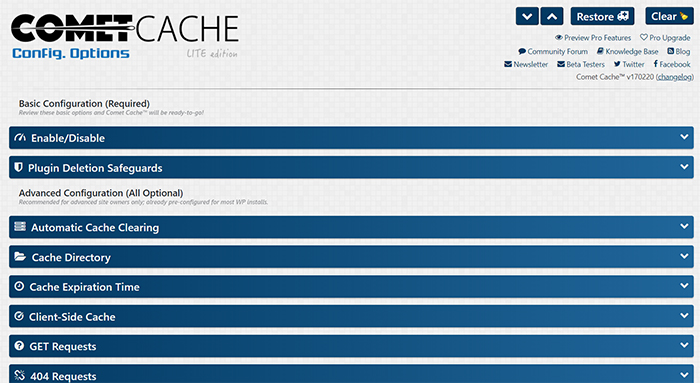 comet cache software home page