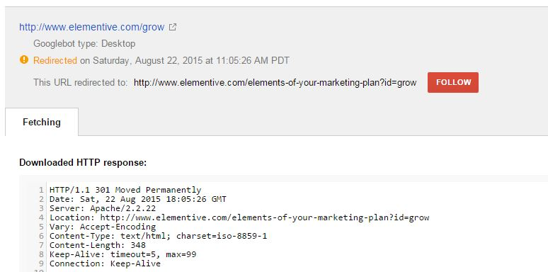 fetch as google redirect details