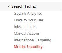 google analytics navigation to Mobile Usability