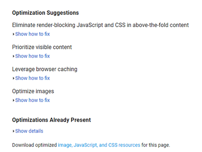 optimizations for google speed page insights page 2