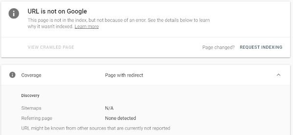Google Search Console – URL Inspection – Page With Redirect