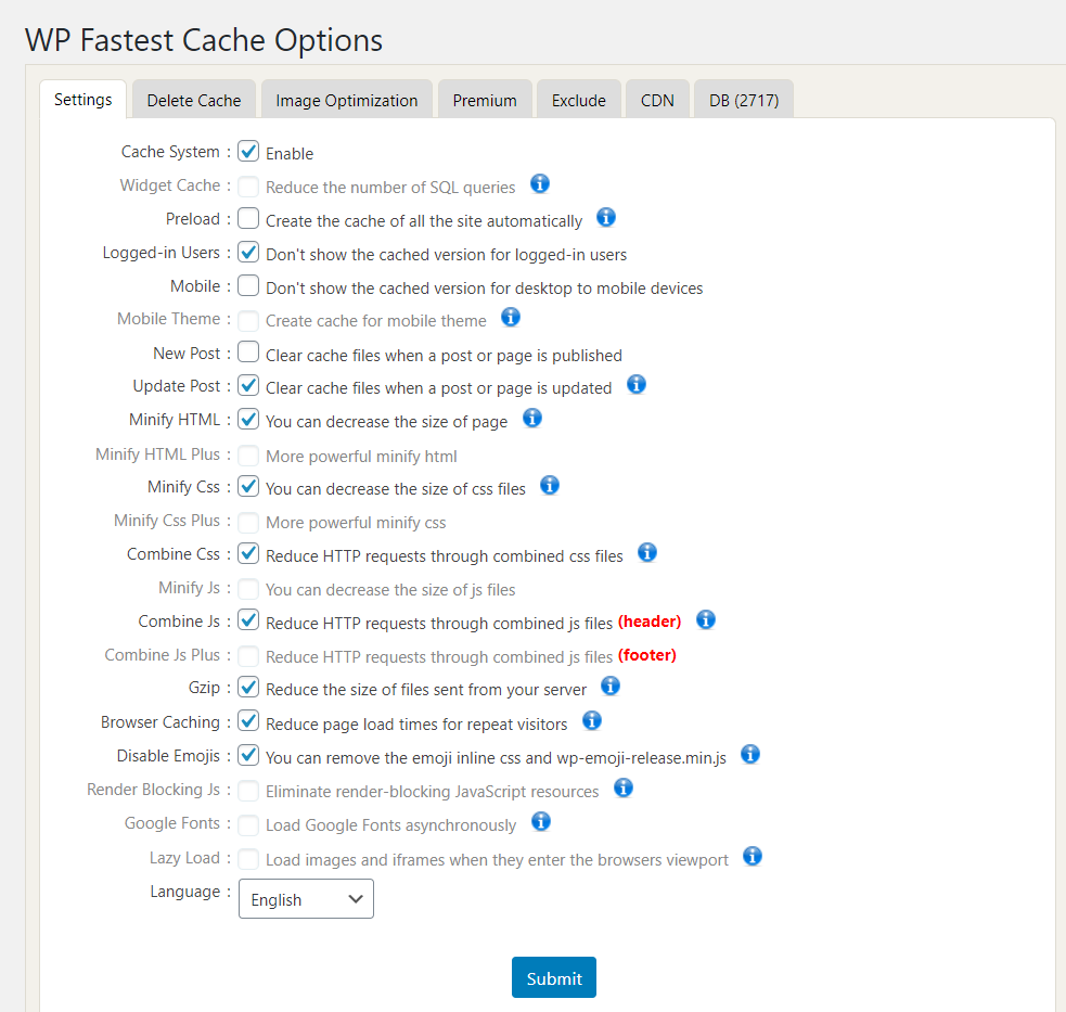 wp fastest cache configuration