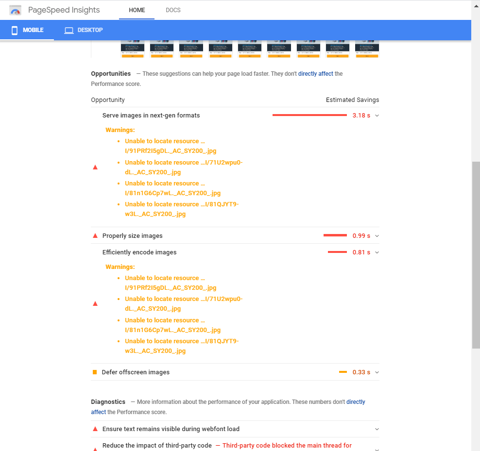 optimization suggestions from google speed page insights