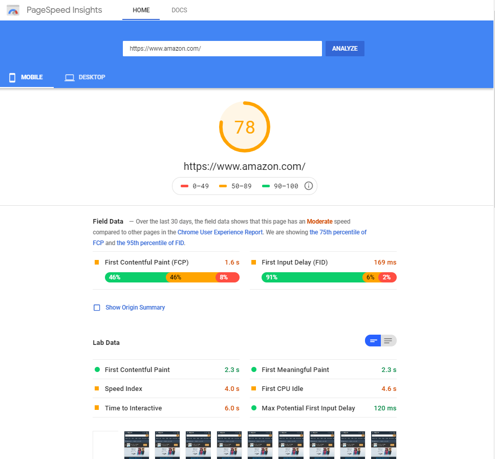 google speed page insights results page