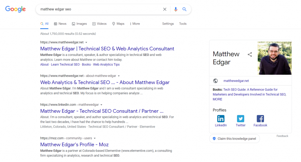 Google search for Matthew Edgar SEO